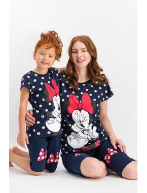 Minnie Mouse Lisanslı Kırmızı Kız Çocuk Kapri Takım