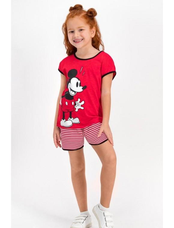 Minnie Mouse Lisanslı Kırmızı Kız Çocuk Şort Takım D4318-C