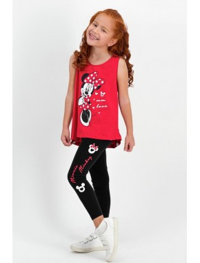 Minnie Mouse Lisanslı Kırmızı Kız Çocuk Tayt Pijama Takım