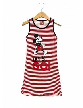 Minnie Mouse Lisanslı Kırmızı-Krem Kız Çocuk Gecelik D4319-C