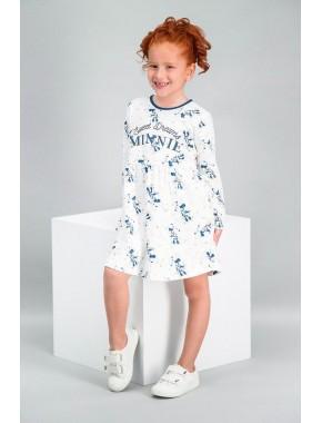 Minnie Mouse Lisanslı Krem Kız Çocuk Elbise V1