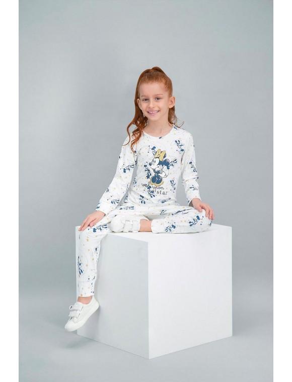 Minnie Mouse Lisanslı Krem Kız Çocuk Pijama Takımı V1