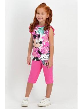 Minnie Mouse Lisanslı Krem-Pembe Kız Çocuk Kapri Takım