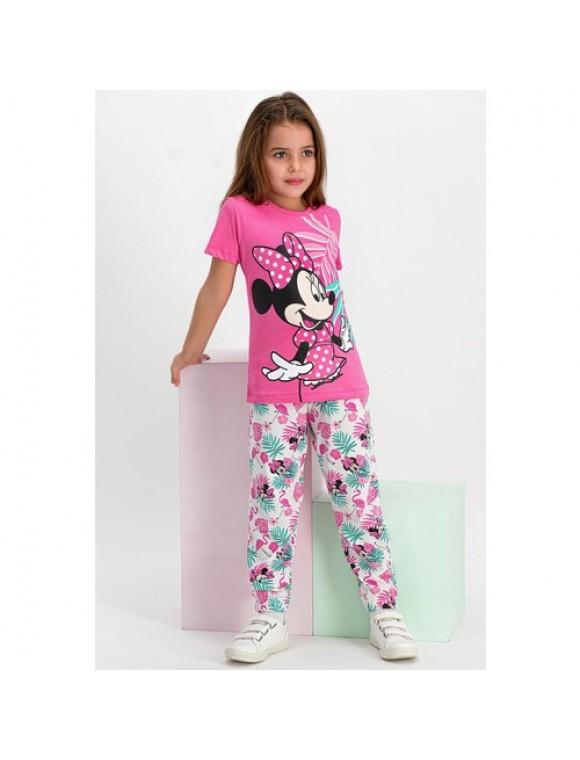 Minnie Mouse Lisanslı Pembe Kısa Kollu Kadın Pijama Takımı