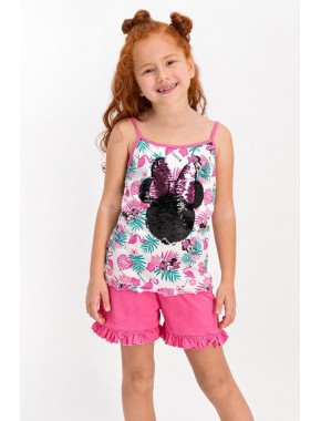 Minnie Mouse Lisanslı Pembe Kız Çocuk Şort Takım D4313-C