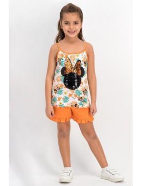 Minnie Mouse Lisanslı Turuncu Kız Çocuk Şort Takım D4313-C