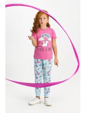 Rolypoly Believe Magic Pembe Kısa Kollu Kız Çocuk Pijama Takımı