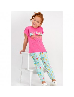 Cute Ice Cream Pembe Kız Çocuk Pijama Takımı