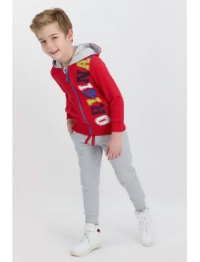 Rolypoly Original Kırmızı Erkek Çocuk Fermuarlı Kapuşonlu Eşofman Takımı