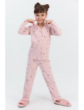 Rolypoly Snows Pembemelanj Kız Çocuk Gömlek Pijama Takımı