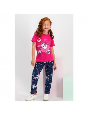 Summer Unicorn Fuşya Kız Çocuk Pijama Takımı
