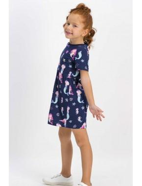 Sea Life Lacivert Kız Çocuk Homewear Elbise RP1756-C