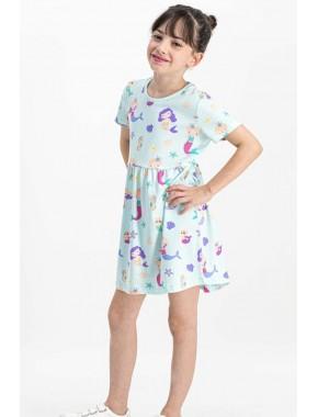 Sea Life Nil Yeşil Kız Çocuk Homewear Elbise RP1756-C