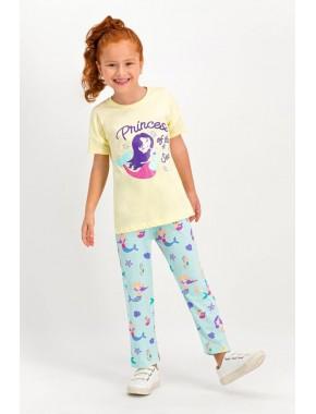 Sea Princess Açık Sarı Kısa Kollu Kız Çocuk Pijama Takımı