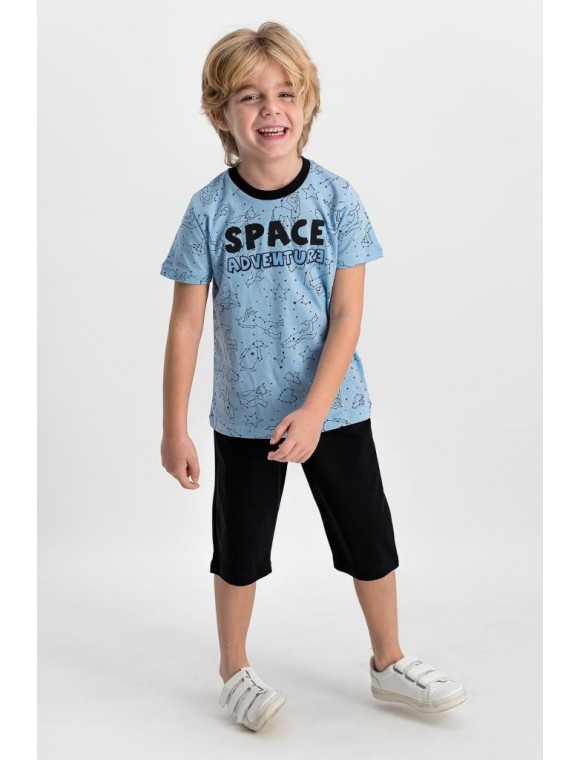 Space Adventre Açık Mavi-Siyah Erkek Çocuk Kapri Takım RP1633-C