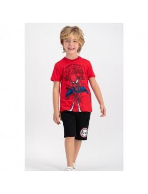 Spiderman Lisanslı Kırmızı Erkek Çocuk Bermuda Takım