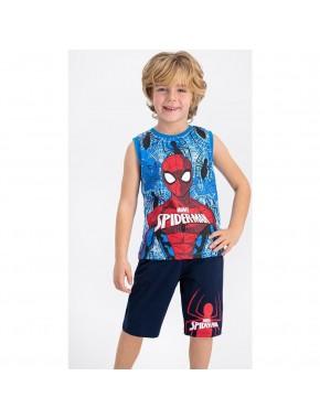 Spiderman Lisanslı Krem-Kırmızı Erkek Çocuk Bermuda Takım
