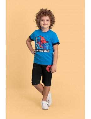 Spider Man Lisanslı Mavi Erkek Çocuk Kapri Takım D4144-C-V1