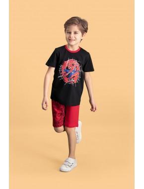 Spider Man Lisanslı Siyah Erkek Çocuk Bermuda Takım D4145-C-V2
