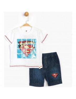 Superman Lisanslı Erkek Çocuk Kot Şortlu 2 Li Takım T15644