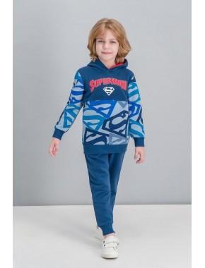 Superman Lisanslı Mavi Erkek Çocuk Kapüşonlu Eşofman Takımı -V2