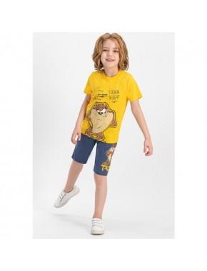 Tazmania Lisanslı Sarı Erkek Çocuk Bermuda Takım