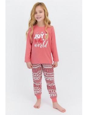 To The World Kırmızımelanj Kız Çocuk Pijama Takımı
