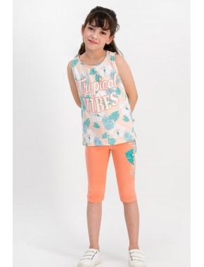 Tropical Vibes Yavruağzı Kız Çocuk Tayt Takım RP1786-C
