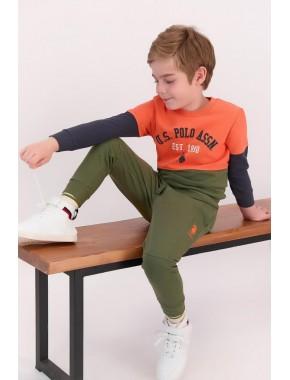 Turuncu Erkek Çocuk Ribanalı Eşofman Takımı