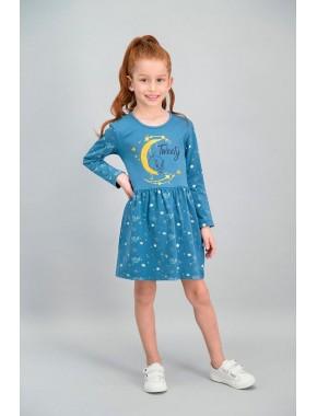 Tweety Lisanslı Koyu Petrol Kız Çocuk Elbise V1