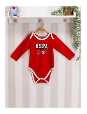 U.s Polo Assn. Erkek Bebek Çıtçıtlı Badi 0-12 Ay Kırmızı
