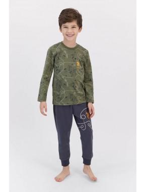 U.s. Polo Assn Haki Erkek Çocuk Ribanalı Pijama Takımı