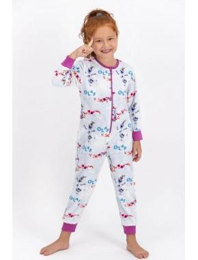U.S. Polo Assn. Kids Kız Çocuk Mavi Frozen Lisanslı Polar Tulum D4464-3B