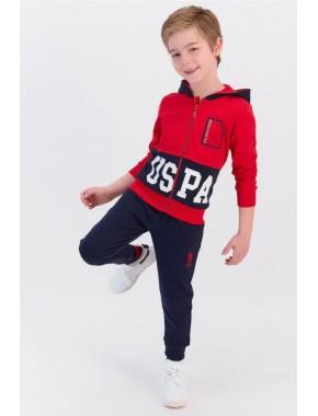 U.s. Polo Assn Kırmızı Erkek Çocuk Fermuarlı Eşofman Takımı