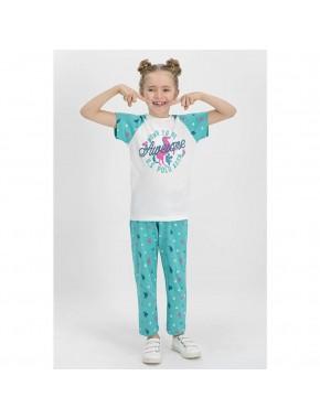 U.S. Polo Assn. Kısa Kollu Kız Çocuk Pijama Takımı Krem