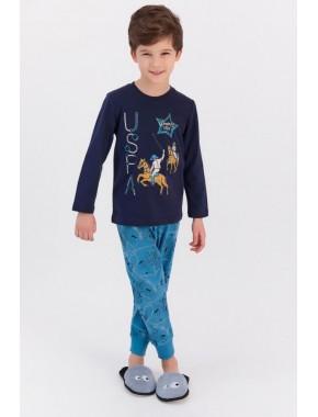 U.s. Polo Assn Lacivert Erkek Çocuk Ribanalı Pijama Takımı