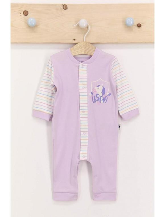 U.s. Polo Assn Lila Kız Bebek Uzun Kol Tulum