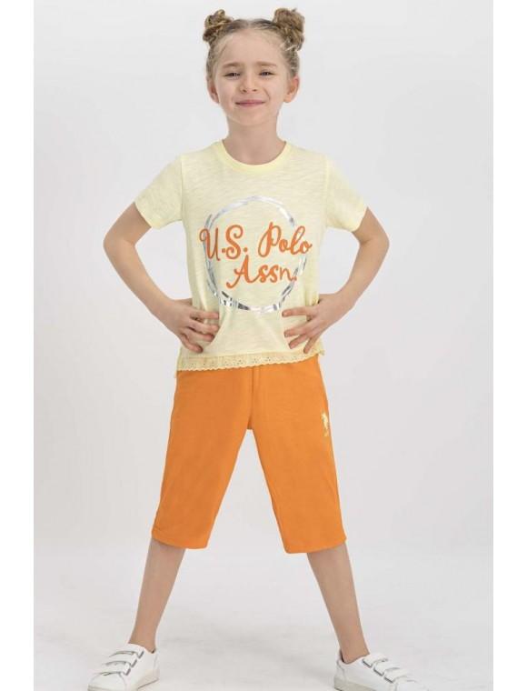 U.S. Polo Assn Lisanslı Açık Sarı Kız Çocuk Kapri Takım US673-C