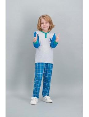 U.S. Polo Assn Lisanslı Ekose Karmelanj Erkek Çocuk Pijama Takımı V1