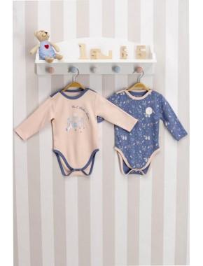 U.s. Polo Assn Lisanslı Erek Pembe Mavi Bebek 2'li Body Zıbın