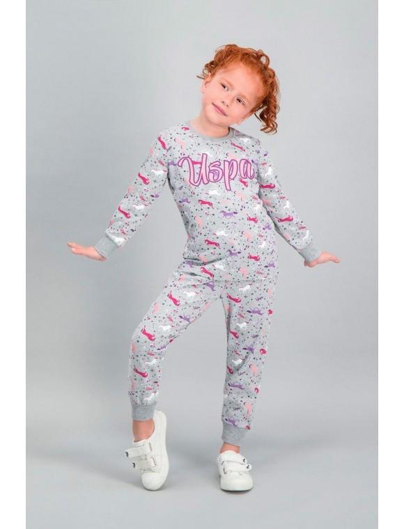 U.S. Polo Assn Lisanslı Grimelanj Kız Çocuk Pijama Takımı V2