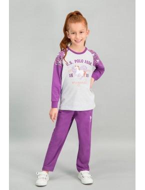 U.S. Polo Assn Lisanslı Karmelanj Kız Çocuk Pijama Takımı V1