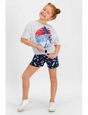 U.S. Polo Assn Lisanslı Karmelanj Kız Çocuk Şort Takım US651-C