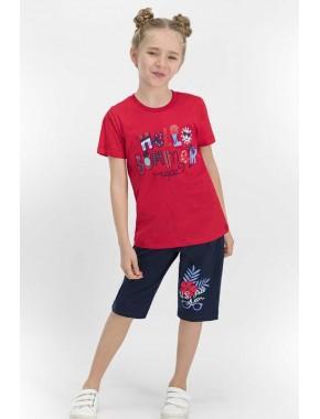 U.S. Polo Assn Lisanslı Kırmızı Kız Çocuk Kapri Takım US653-C