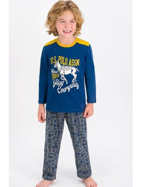 U.s. Polo Assn Lisanslı Koyu Indigo Erkek Çocuk Pijama Takımı