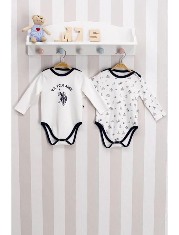U.s. Polo Assn Lisanslı Krem Bebek 2'li Body Zıbın
