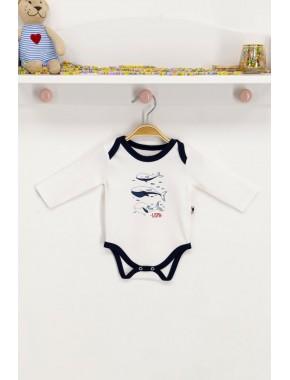 U.s. Polo Assn Lisanslı Krem Bebek Body Zıbın
