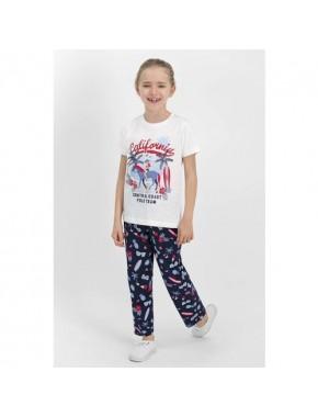 U.S. Polo Assn Lisanslı Krem Kız Çocuk Pijama Takımı