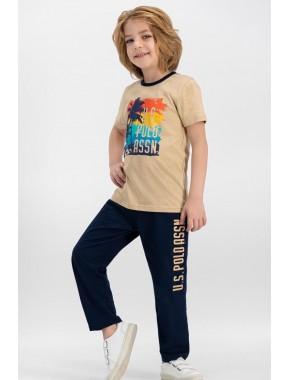 U.S. Polo Assn Lisanslı Kum Erkek Çocuk Pijama Takımı US610-C