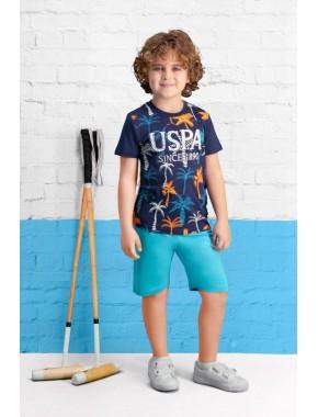U.S. Polo Assn Lisanslı Lacivert Erkek Çocuk Bermuda Takım US-416-C-V2